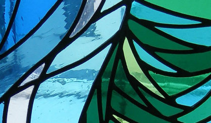 Contempary stain glass. Office. Close up 4