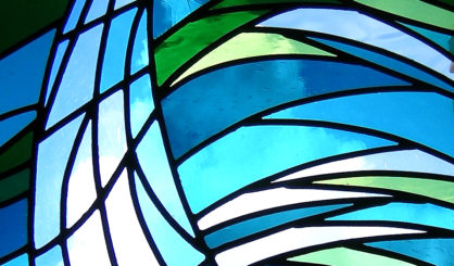 Contempary stain glass. Office. close up 2